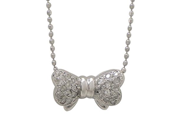 ネックレスK14WG(ホワイトゴールド) ダイヤモンド0.17ct リボン【中古】仕上げ済み【質屋出品】