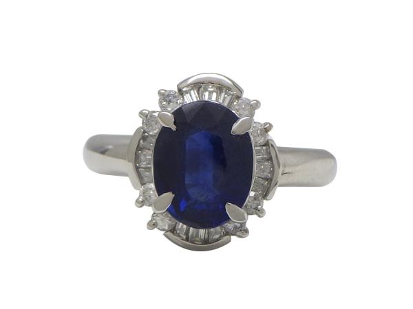 リング 指輪Pt900(プラチナ)サファイア1.80・ダイヤモンド0.31ct【実寸】9号【中古】仕上げ済み【送料無料】【質屋出品】