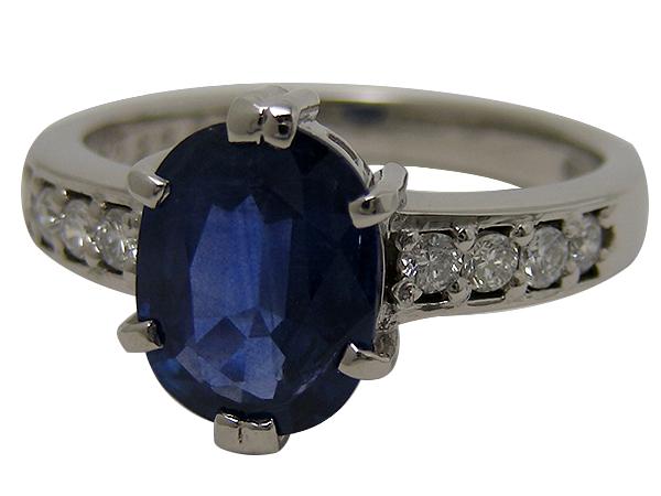 リング 指輪Pt900(プラチナ)サファイア2.33・ダイヤモンド0.22ct【実寸】12号【中古】仕上げ済み【送料無料】【質屋出品】