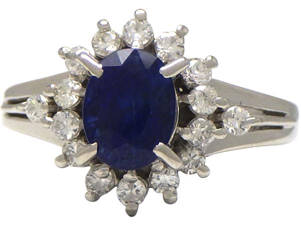 リング 指輪Pt900(プラチナ) サファイア1.22・ダイヤモンド0.25ct【実寸】7号 ソーティング付き【中古】仕上げ済み【送料無料】【質屋出品】