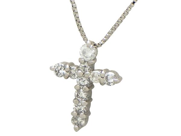 ネックレスPt850/Pt900(プラチナ) ダイヤモンド0.3ctチェーン長さ【実寸】35.5/39.5cm クロス【中古】仕上げ済み【質屋出品】