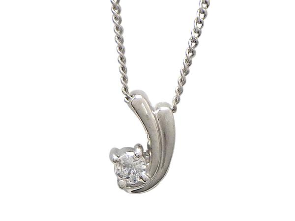 ネックレスPt850/Pt900(プラチナ) ダイヤモンド0.05ctチェーン長さ【実寸】36/40cm 流れ星【中古】【質屋出品】