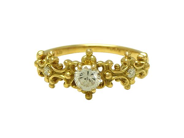 リング 指輪K18(ゴールド) ダイヤモンド0.56/0.04ct【実寸】12号【中古】仕上げ済み【送料無料】【質屋出品】