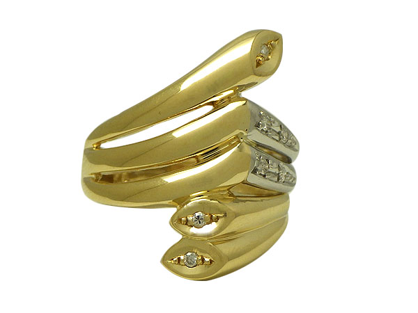 リング 指輪P/K(プラチナ/ゴールド) ダイヤモンド0.07ct【実寸】11-11.5号【中古】仕上げ済み【送料無料】【質屋出品】