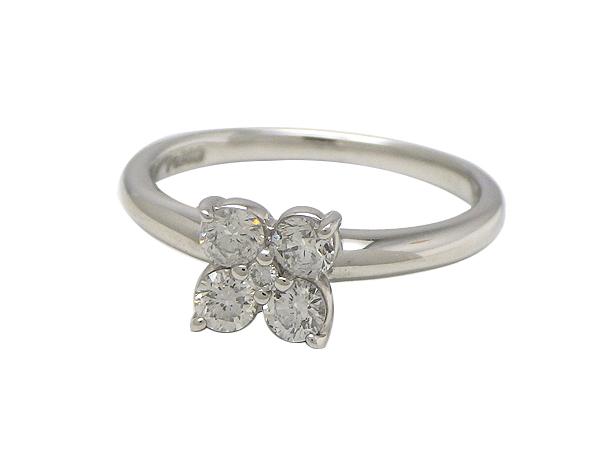 リング 指輪Pt900(プラチナ) ダイヤモンド0.33ct【実寸】6号 フラワー【中古】仕上げ済み【質屋出品】