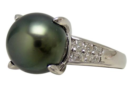 リング 指輪Pt900(プラチナ) ブラックパール・ダイヤモンド0.35ct【実寸】15号【中古】仕上げ済み【送料無料】【質屋出品】