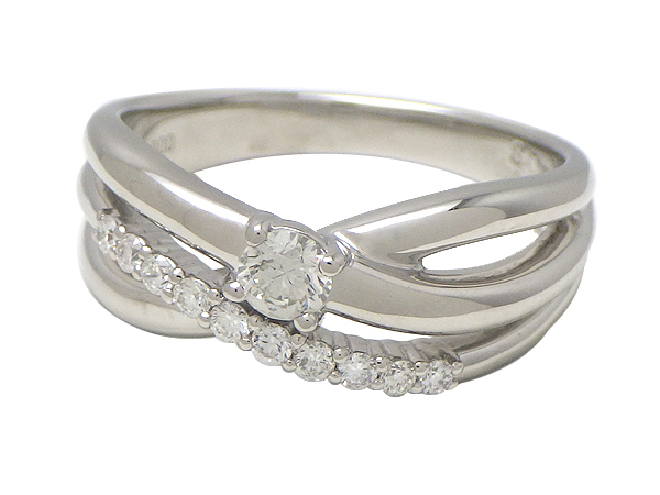 リング 指輪Pt900(プラチナ) ダイヤモンド0.160/0.14ct【実寸】13号【中古】仕上げ済み【送料無料】【質屋出品】