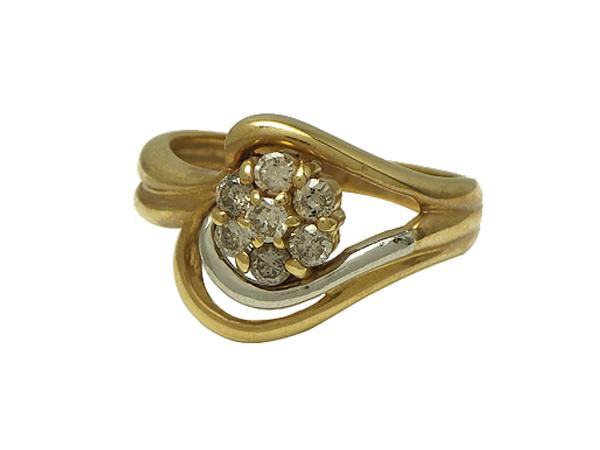 リング 指輪P/K(プラチナ/ゴールド) ダイヤモンド0.30ct【実寸】11号【中古】仕上げ済み【送料無料】【質屋出品】