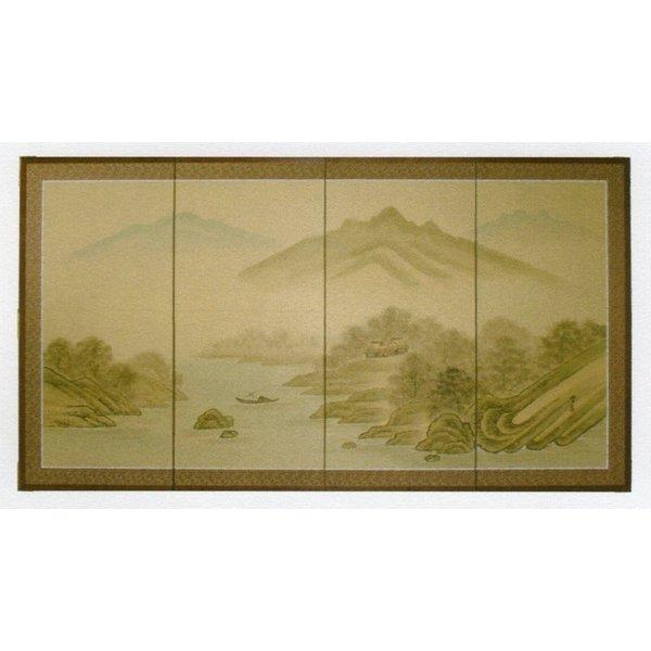日本製 屏風  田舎家 3尺4曲 四枚折り 送料無料