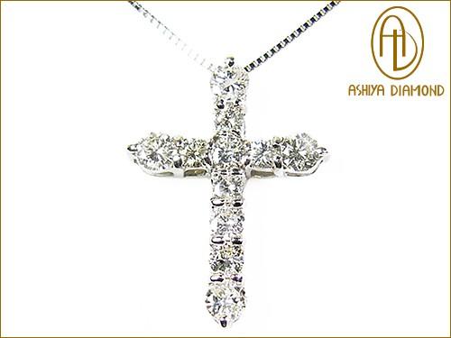 ★天然ダイヤモンド1ctネックレス/クロス/ホワイトゴールド/芦屋ダイヤモンド