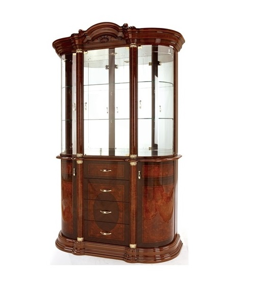 Saltarelli サルタレッリ Florence フローレンス 4Doors Glass Cupboard(Walnut)
