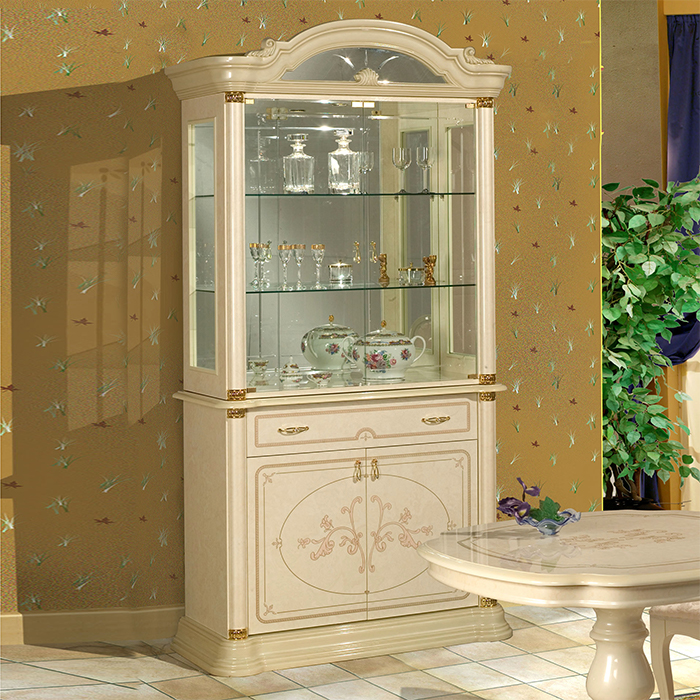Saltarelli サルタレッリ Florence フローレンス 2Doors Glass Cupboard(Ivory)