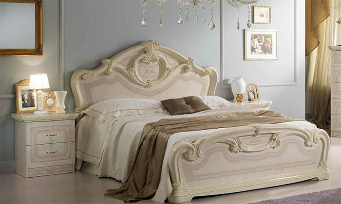 Saltarelli サルタレッリ Amalfi アマルフィ Queen Size Bed(Ivory)+00044080QウッドファンデーションSP(脚12本)搬入しやすいセパレートファンデーション付き‼