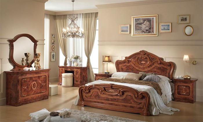 Saltarelli サルタレッリ Amalfi アマルフィ Queen Size Bed Frame(Walnut)+00044080QウッドファンデーションSP(脚12本)搬入しやすいセパレートファンデーション付き#8252;