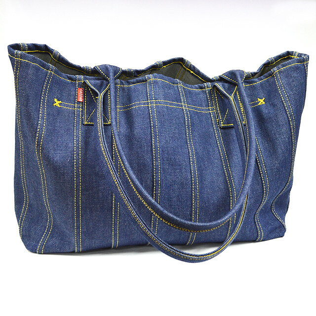 ASHOES&SUNS WORKS 巻き縫いデニムトートバッグ(小)(ROLLED SEAM DENIM TOTE BAG)