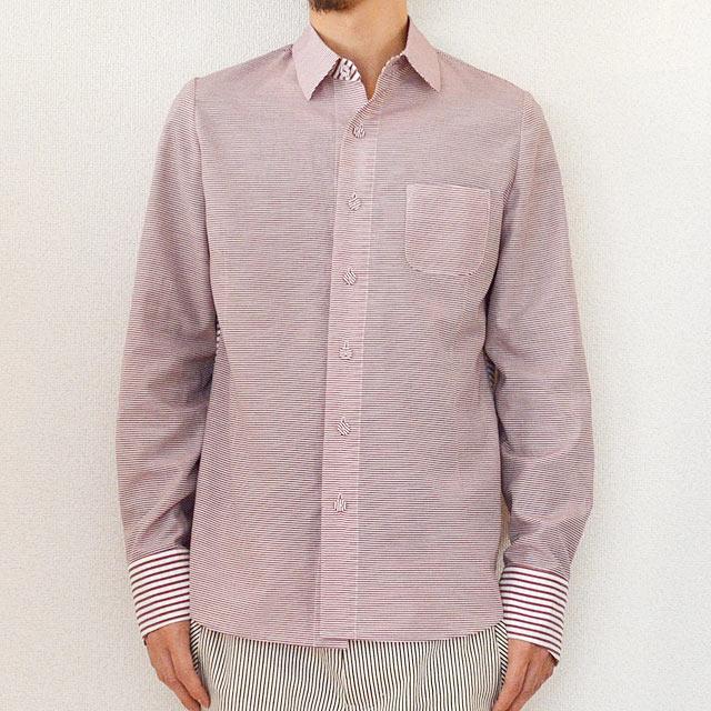 multiple core マルチプルコア シャツ border おしゃれ weave cloth pattern rose1 umber 高級な 秋物 mix 秋服 shirt