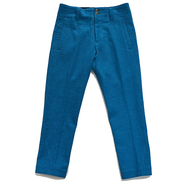 【i】multiple core マルチプルコア パンツ cotton linen slub yarn canvas twist seam soft tapered pants turquoise