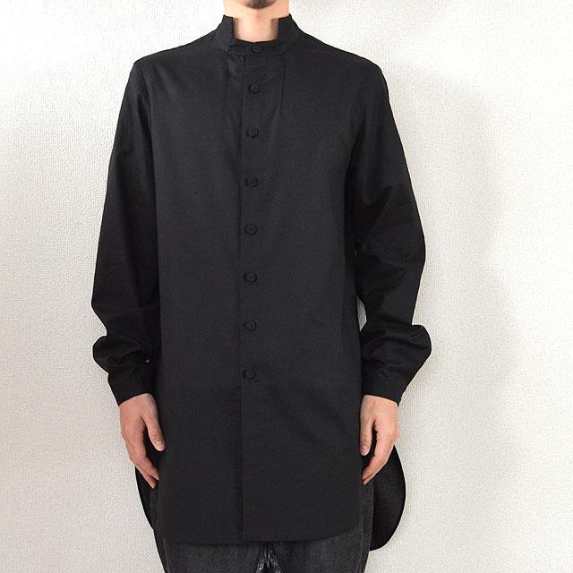 新色追加して再販 multiple core マルチプルコア 綿ボイル Black 注目ブランド 秋物 スタンドカラーオーバーシャツ 秋服
