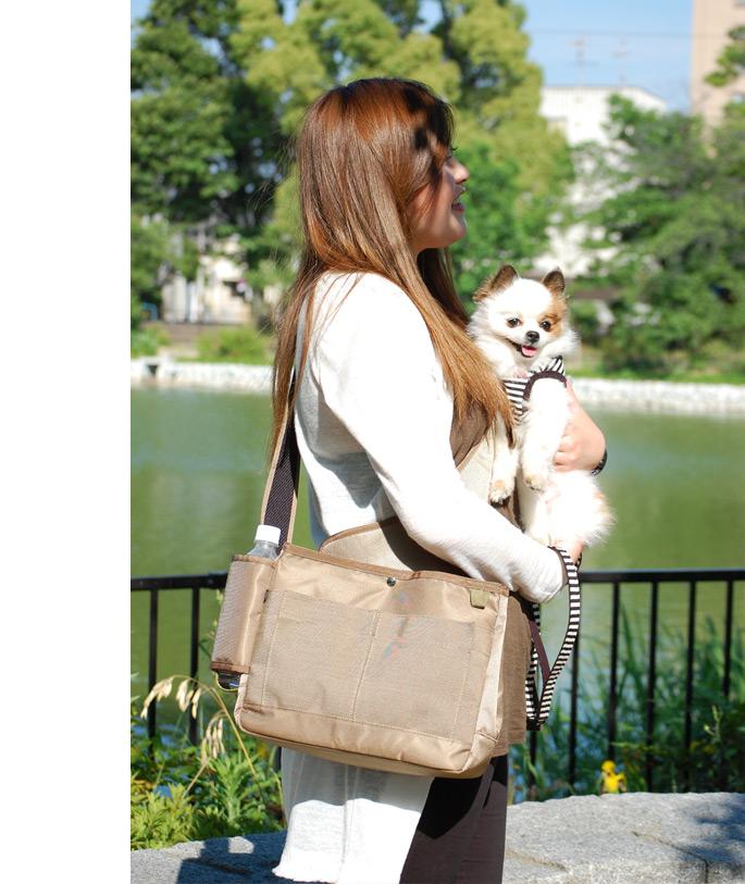 犬 お散歩バッグ NEW!ASHUユースフルバッグ ショルダー 肩掛け かばん 柴犬 チワワ プードル お出かけ 猫 にも あす楽