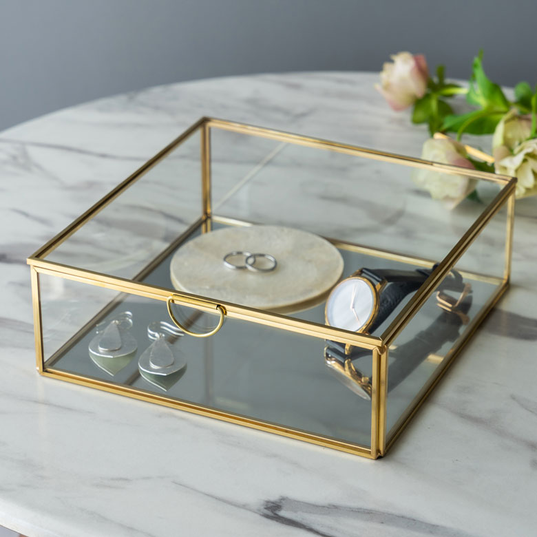 [再販ご予約限定送料無料] 憧れのリゾート ビーチハウスインテリアに ガラスボックス ガラスケース 容器 四角 ガラスと真鍮でできた鏡付き収納ケース 小物収納 Lサイズ ディスプレイケース 小物入れ 1年保証 63170
