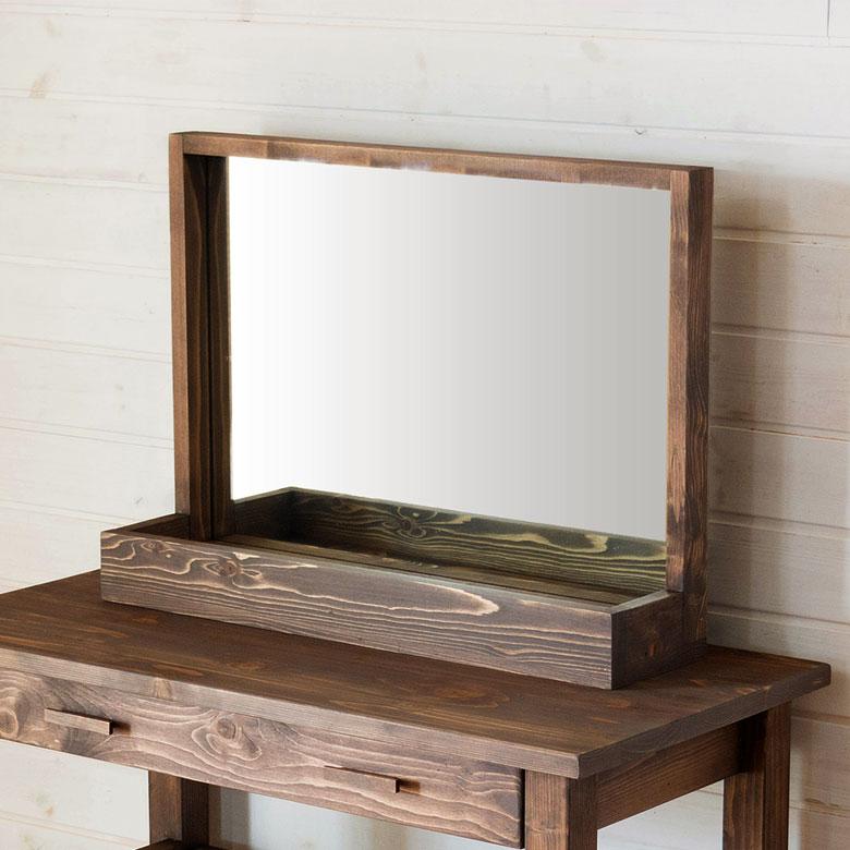 ミラー 鏡 立て掛け 収納付き 木製フレーム 幅60cm [91300]【 鏡台 飛散防止ミラー 天然木 姿見 壁掛け おしゃれ 木枠 北欧 】