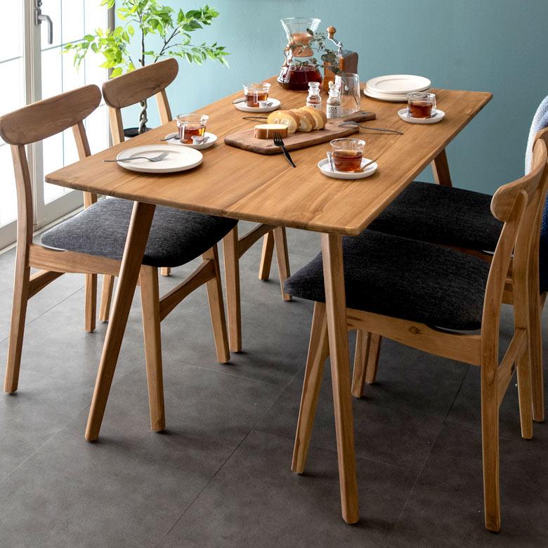 ダイニングテーブル 2人掛け 4人掛け 天然木製 「TAKE TEAK」 [13732] 【 4人掛けダイニングテーブル 天然木 チーク材 おしゃれ アジアン 北欧 モダン レトロモダン 家具】