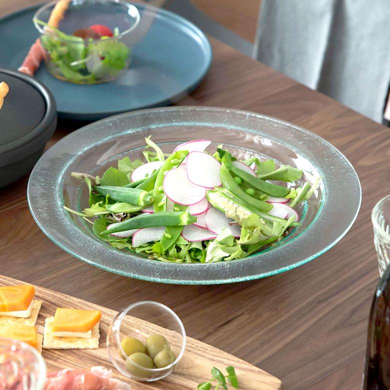 食品検査済みで安心 ガラスのプレート メインディッシュからデザートまで バブルタイプ Lサイズ 66400 食器 ガラス 贈答品 皿 アジア雑貨 プレート トレー アジアン雑貨 前菜 デザート 再再販 デコレーション 丸皿 おしゃれ