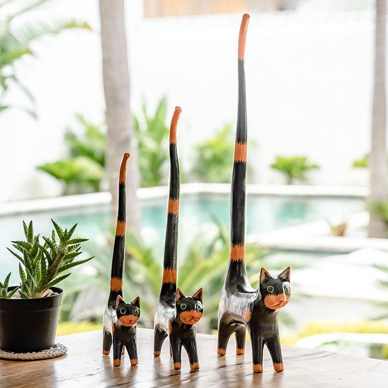 バリ島で見つけた素朴な表情がかわいい木彫りの猫の置き物 バリ島の人気アジアン雑貨 送料無料(一部地域を除く) しっぽのながい木彫りバリネコ 大 中 店内全品対象 小 3匹セット 9221 木彫りの動物 バリ島のネコ ねこ ウッドオブジェ アジアン雑貨アジア工房 インテリア置物 雑貨 アジアン 飾り 彫刻 バリ 木製デコレーション おしゃれ 猫の置き物