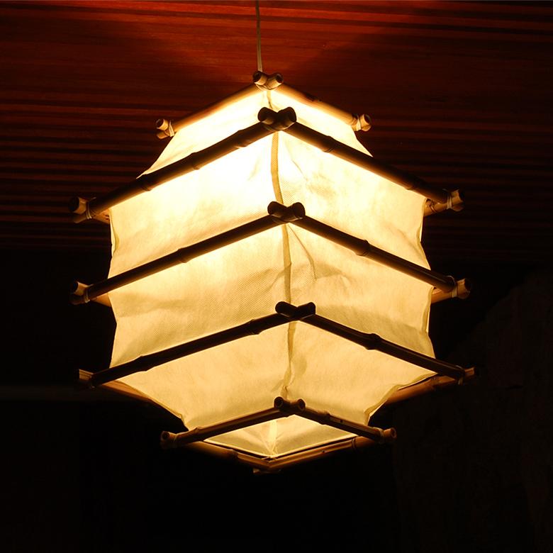 Asian Lighting Lantern Type Bamboo Pendant Lamp 4341