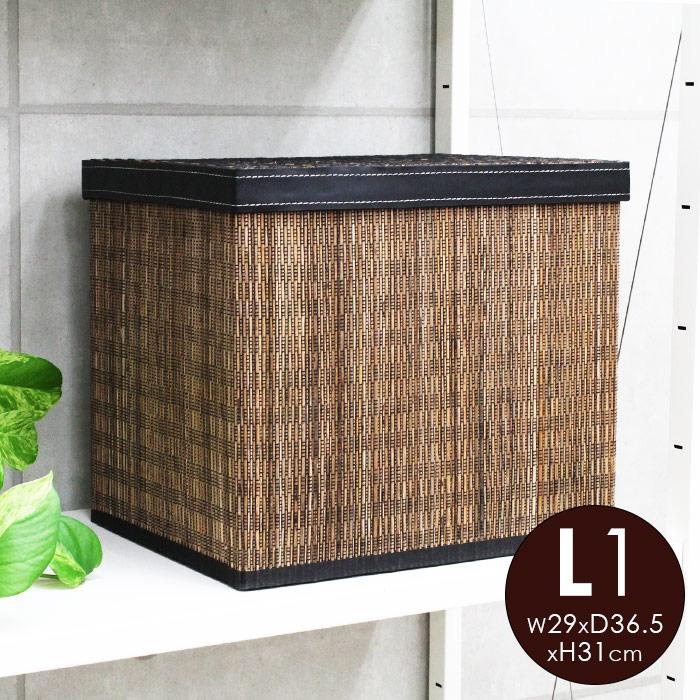ヤシの葉の素材と合皮のコンビネーションが絶妙な収納ボックス。モジュールタイプの収納ケースだから組み合わせてもシェルフやラックにすっきり整理できます。 パームリディと合皮の折畳み収納ボックス[L1][11380]【折りたたみ 収納バスケット フタ付き 収納かご 収納カゴ 籠 小物入れ 小物いれ 引き出し バリ雑貨 アジア雑貨 アジアン雑貨 おしゃれ インテリア ナチュラル 蓋付き ふた付き 和室 和風 ふたつき おもちゃ】