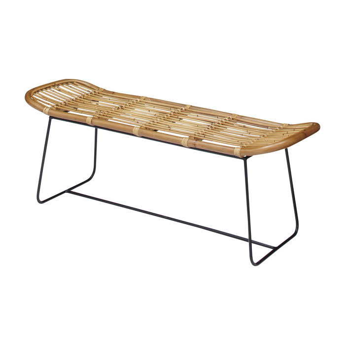ベンチ チェア 2人掛け ラタン 幅121cm [91216]【 椅子 二人掛け 籐家具 アジアン アジアン家具 バリ家具 】