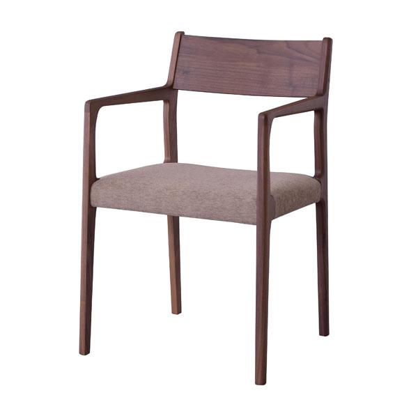 ダイニングチェア 肘付き 天然木 ファブリック ウォールナット [91220]【 椅子 アームチェアー 木製チェア 布張り おしゃれ 北欧 】