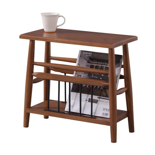 サイドテーブル ソファーサイドテーブル 収納付き 木製 幅50cm [91240]【 テーブル ベッドサイドテーブル マガジンラック 天然木 スリム 収納棚 北欧 】