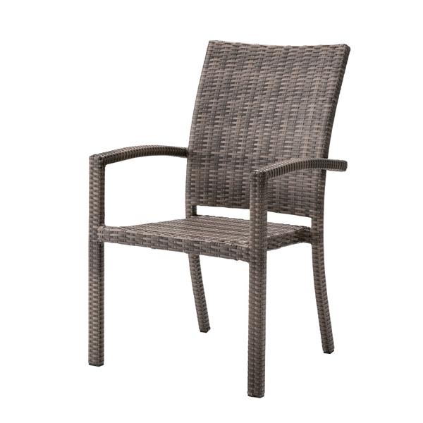 チェア ダイニングチェア ガーデンチェア 肘付き ラタン調 スタッキング [91261]【 椅子 ガーデンファニチャー イス プラスチック スタッキングチェア 積み重ね おしゃれ リゾート 】