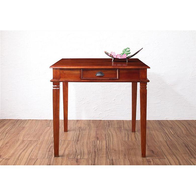 ダイニングテーブル アンティーク調 2人掛け 木製 完成品 テーブル幅80cm [99054]【 ダイニングテーブル 単品 食卓 二人掛け アジアン 家具 アジアン家具 おしゃれ 】