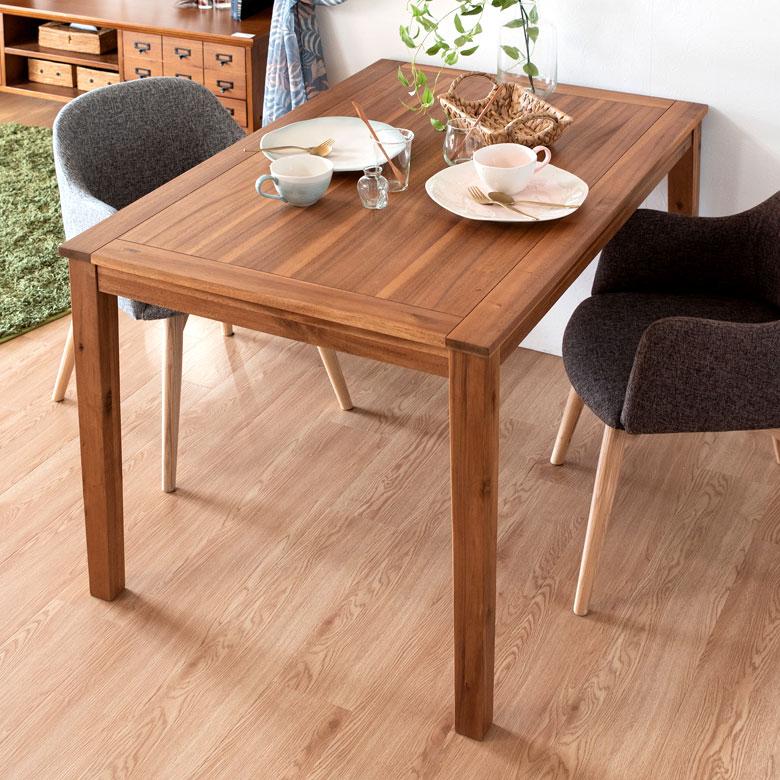 【割引クーポンあり】ダイニングテーブル 木製 120×80 長方形 4人掛け [91381]【 テーブル 食卓 天然木 ナチュラル アカシア ウッド シンプル 】