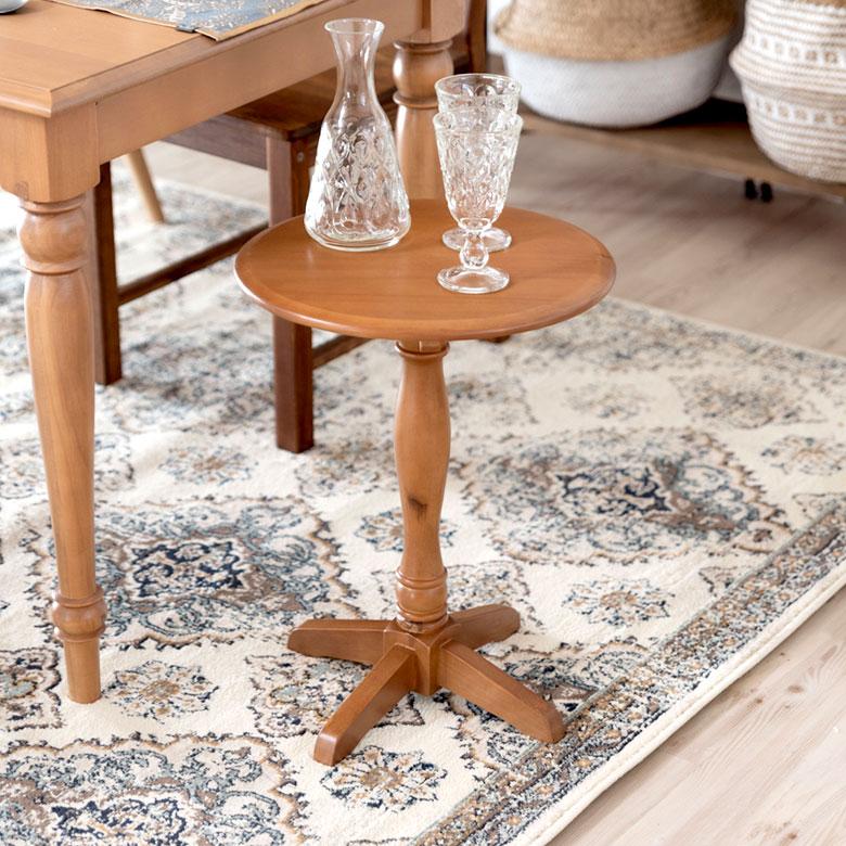 【割引クーポンあり】サイドテーブル 木製 直径38cm 高さ50cm ラウンド [91382]【 テーブル ソファサイド ベッドサイド 天然木 パイン ナチュラル おしゃれ 】
