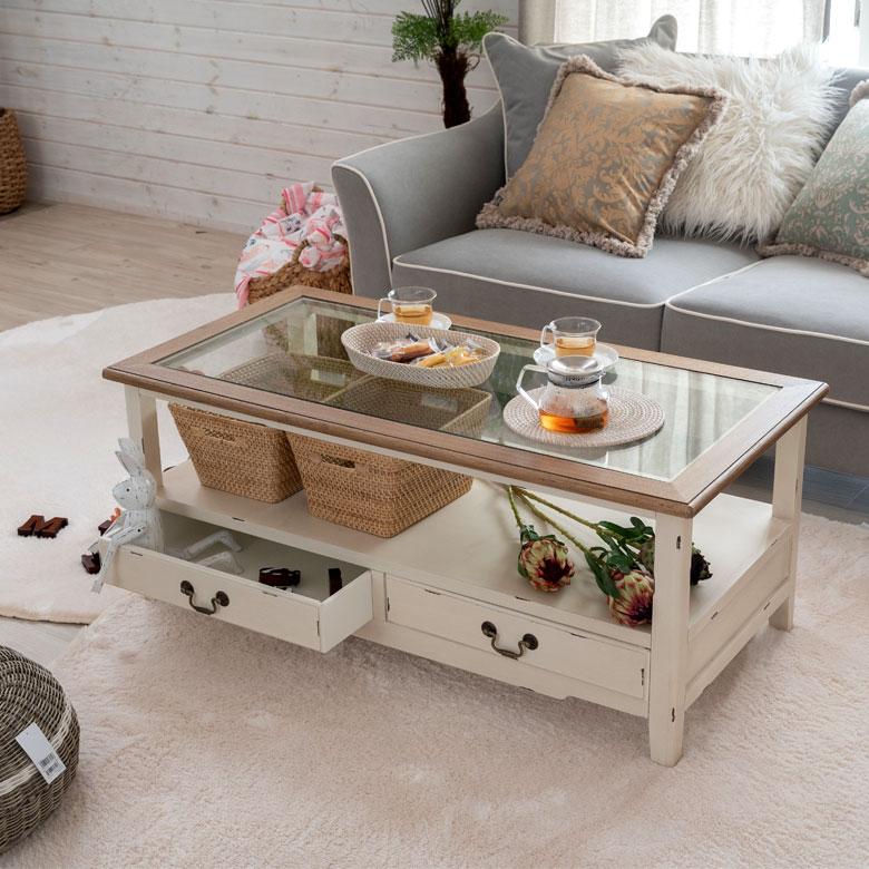 センターテーブル ガラス 木製 引出し付き ホワイト [91406]【 テーブル 幅110cm 引出し2杯 ガラス天板 アンティーク調 フレンチ カントリー 】