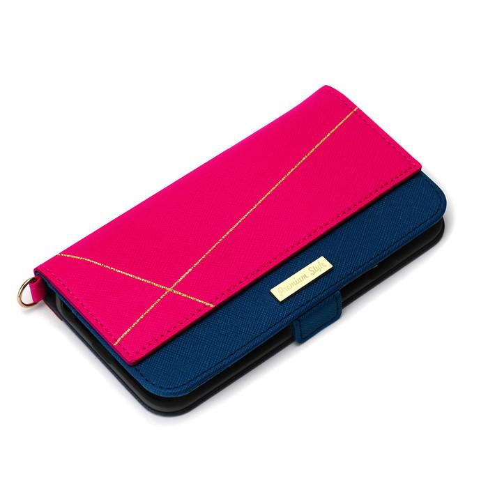 iPhoneSE iphone8 iphone7 6s 6 ケース ダブル メール便配送 マーケティング 箔押しされたラインがポイントのiPhone 8 スクエア型 6用ダブルフリップカバーです 父の日 SE 7 驚きの値段 ピンク ダブルフリップカバー