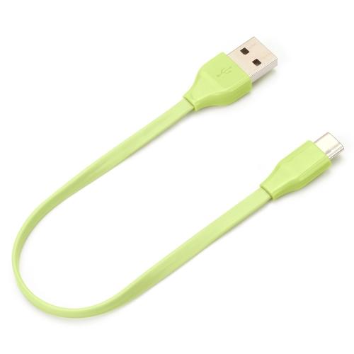 USB Type-C Type-A コネクタ USBフラットケーブル 15cm メーカー直売 物品 Type-Cフラットケーブルです 父の日 グリ充電 通信に対応した長さ15cmのUSB グリーン