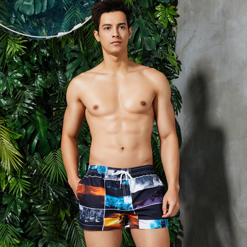 ボードショーツ 男性水着 サーフパンツ コラージュ 海水パンツ ビーチウェア フォトアート 海パン セビン メンズ水着 スイムウェア SEOBEAN/