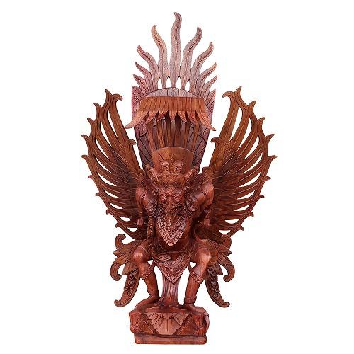ガルーダの木彫りの置物 85cm  スワール無垢材 080182