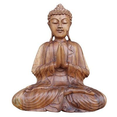 ブッダの木彫り 32cm 合掌 座像 スワール無垢材 木製仏像 080716