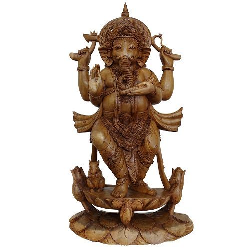 ガネーシャの木彫り 65cm木製 アカシア無垢材