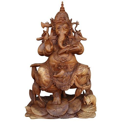 ガネーシャの木彫り 59cm スワール木無垢材 080253