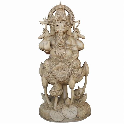 ガネーシャの木彫り 53cm クロコダイルウッド無垢材