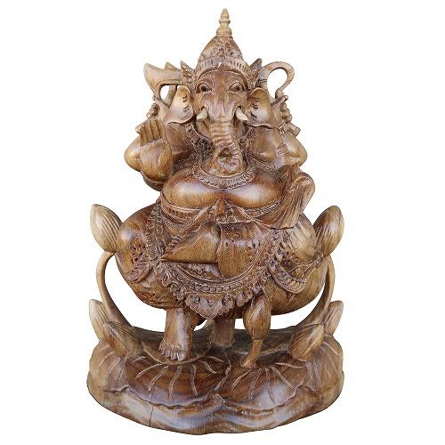 ガネーシャの木彫り 23cm アカシアウッド 無垢材