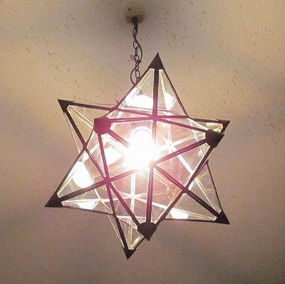 星型ガラスペンダントランプ  スター クリア