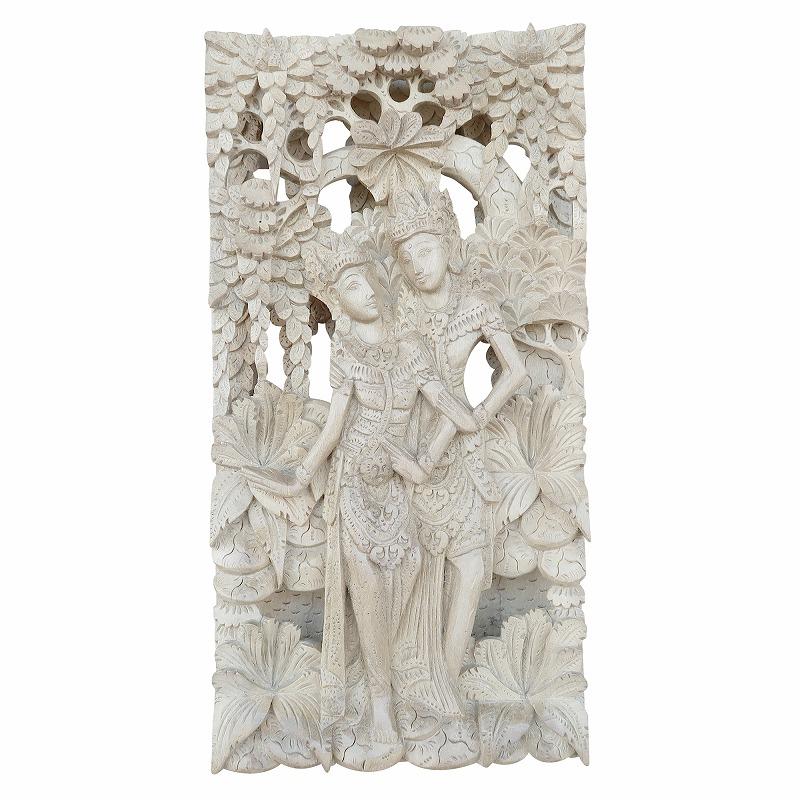 ラーマヤナ物語 ラーマ&シータ 木彫りのレリーフ 19.5X6.5X38.5