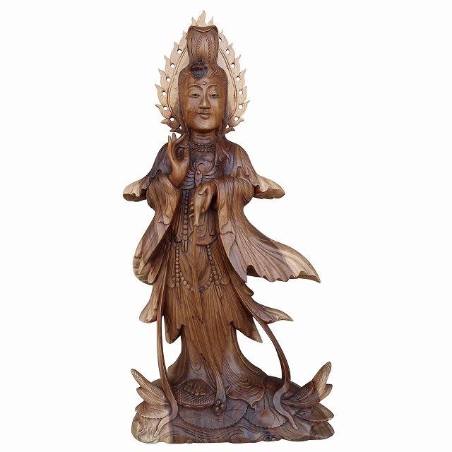 観音菩薩の木彫り Dewi Quan yin 木製 スワール無垢材 79cm